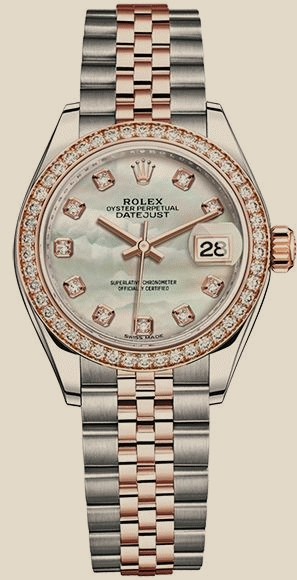Datejust Lady 28 mm, Oystersteel, Everose gold and diamonds